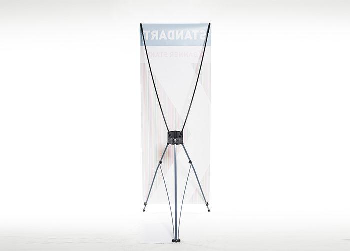 Черный стенд X-баннер. Устойчивость, быстрый монтаж. Печать баннера для стенда