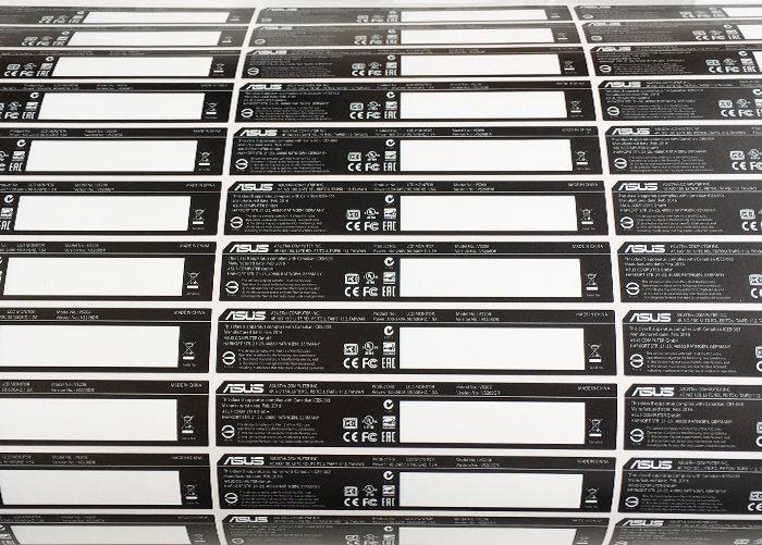 Печать стикеров черно-белых. Наклейки для оборудования, этикетки для маркировки